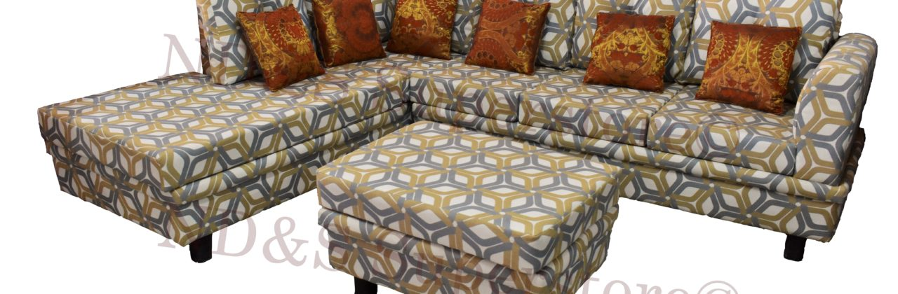 L-Shape Sofa With Pouffe