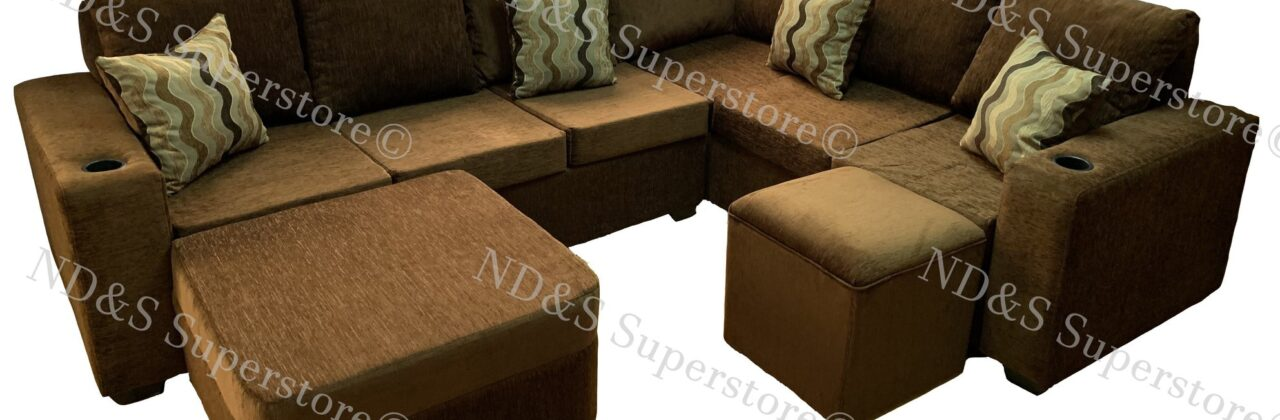 L-Shape Sofa With Cup Holders
